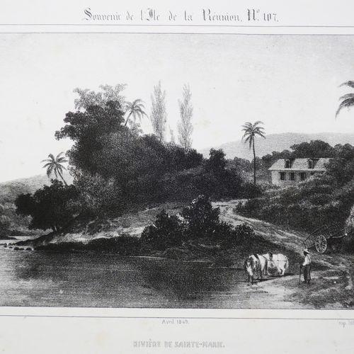 """LA REUNION A. ROUSSIN & POTEMONT """"Rivière de SAINTE MARIE (Vue prise du Pont)"""". …"""