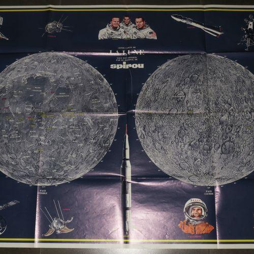 CARTE DE LA LUNE & des Navettes spatiales, par Jacques DEVOS (1924 1992). C.1968…