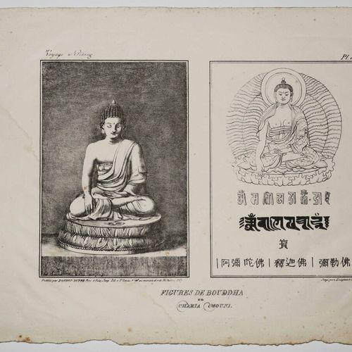 """CHINE """"Figures de BOUDDHA ou CHAKIA MOUNI"""". 1826. Lithographie. Papier vélin. Pl…"""