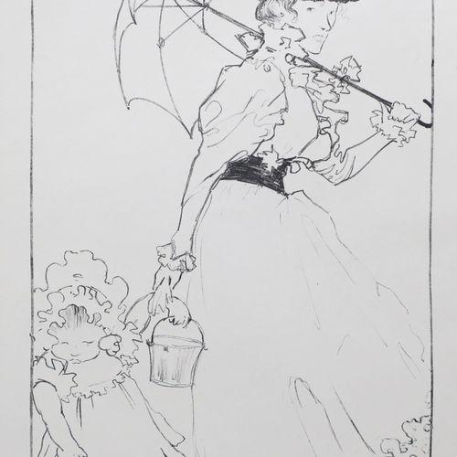"EVENEPOEL Henri Jacques (Nice 1872 Paris 1899) ""Au square"". 1897. Rare lithograp…"