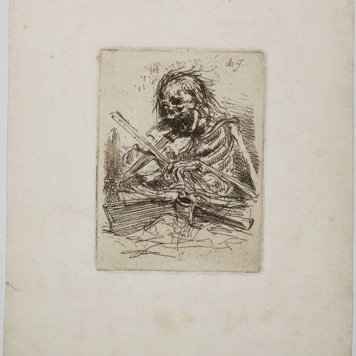 """""""LA MORT JOUANT DU VIOLON"""". 1846. Eau forte originale gravée par Charles JACQUE …"""