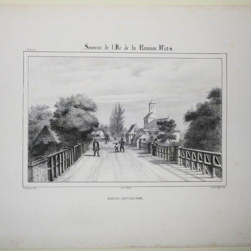 """LA REUNION A. ROUSSIN """"Quartier Sainte Suzanne"""". 1849. Lithographie originale pa…"""