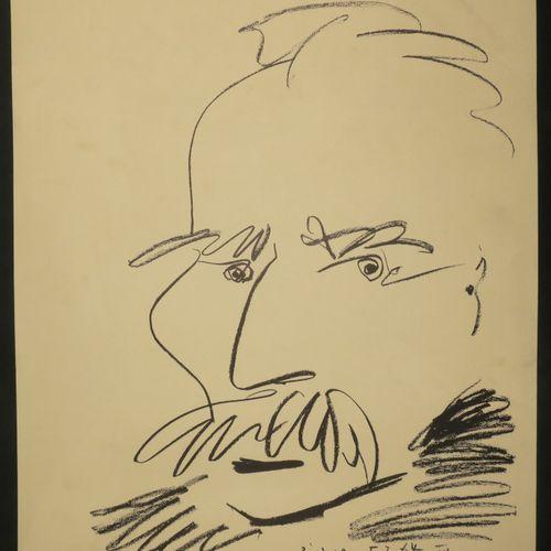 """PICASSO Pablo (1881 1973) (d'après) """"Portrait de Marcel Cachin"""". 1964. Lithograp…"""