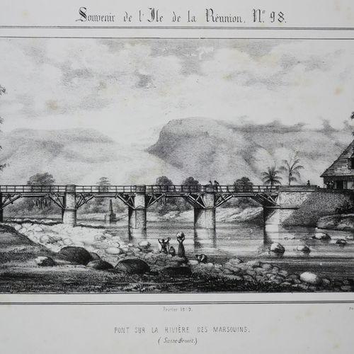"""LA REUNION A. ROUSSIN """"Pont sur la RIVIERE DES MARSOUINS"""". Février 1849. Lithogr…"""
