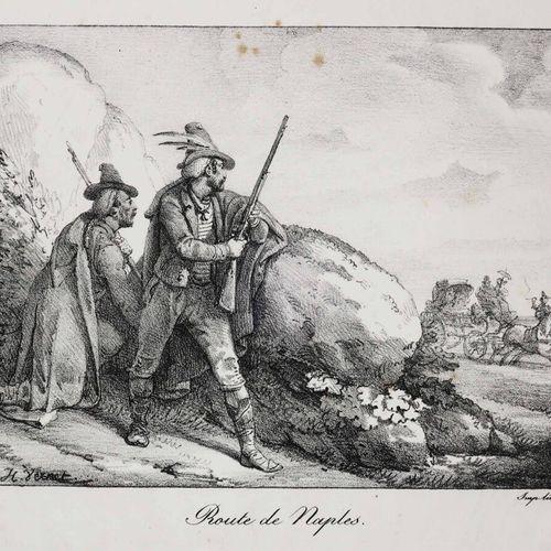 """ITALIE NAPLES """"Route de Naples"""". XIXème. Lithographie originale par Horace VERNE…"""