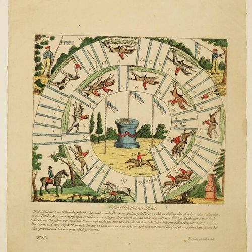 """[JEU DE L'OIE]. """"Das Wettrem Spiel"""". XIXème. Gravé et imprimé sur papier vergé. …"""