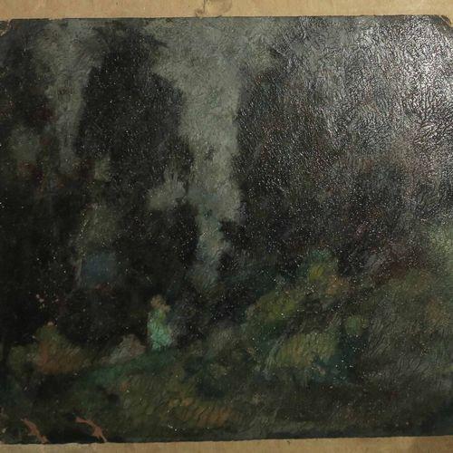ANONYME [Paysage]. XIXème. Huile. Non signée. 15,5 x 17,5 cm. Etat B/C.