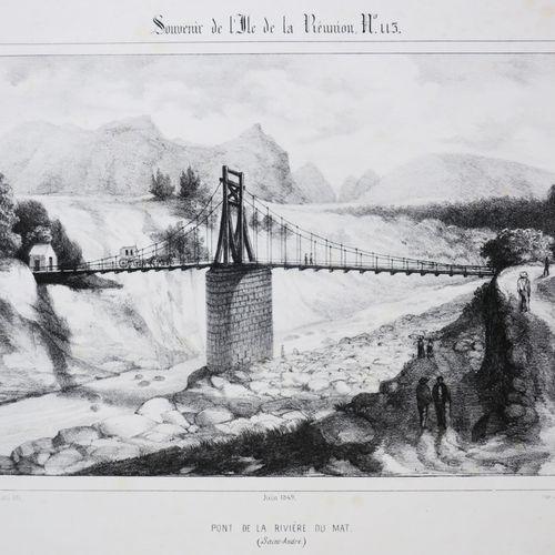 """LA REUNION A. ROUSSIN """"Pont de la Rivière du Mat (SAINT ANDRE)"""". 1849. Lithograp…"""
