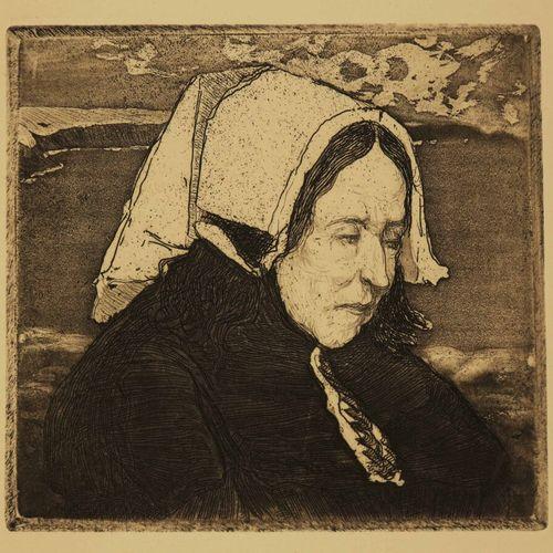 """COTTET Charles (Puy 1863 1924) """"Vieille femme d'Ouessant"""". BRETAGNE. C.1910. Eau…"""