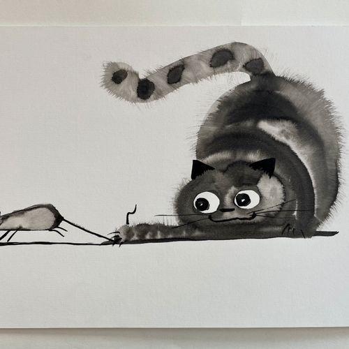 TIBAY Laszlo (Né à Szombathely, Hongrie, en 1962) [Chat attrapant une souris par…