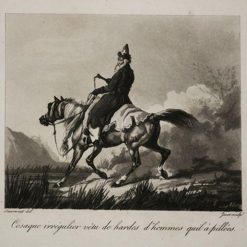 """COSAQUE irrégulier vêtu de hardes d'hommes qu'il a pillées"". XIXème. Aquatinte …"