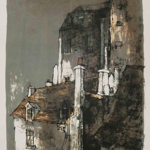 JANSEM Jean (1920 2013) [Vue depuis les toits]. Lithographie imprimée en couleur…