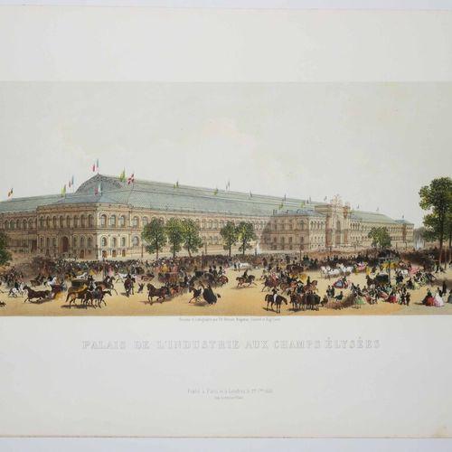 """PARIS (75) """"PALAIS DE L'INDUSTRIE AUX CHAMPS ELYSEES"""". 1855. Belle lithographie …"""