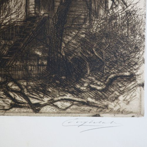 """DELÂTRE Eugène (Paris 1864 1938) """"Montmartre disparaît, Les Vandales"""". C.1914. E…"""