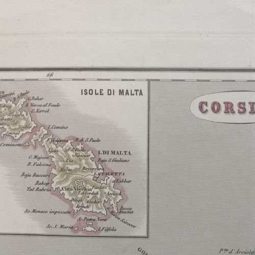 "CORSE CARTE de LA CORSE ""CORSICA"" & MALTE. C.1850. Carte gravée par Pietro Allod…"