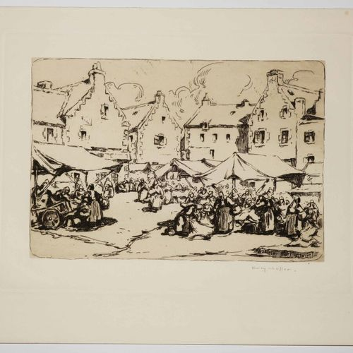 """CHEFFER Henry (Paris 1880 1957) """"Marché d'étoffes à Douarnenez"""". 1911. Eau forte…"""