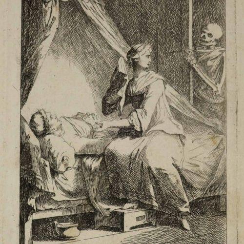 """ALLEGORIE DE LA MORT """"Die Zärtliche Frau"""" (La femme tendre). Fin XVIIIème. Eau f…"""