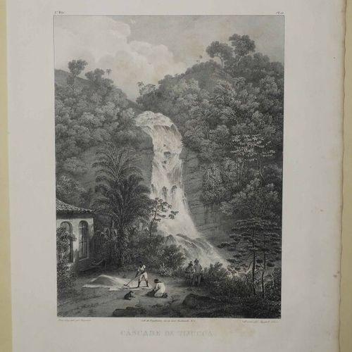 "BRESIL RIO DE JANEIRO VUE de la ""CASCADE de TIJUCCA"". XIXème. Lithographie par V…"