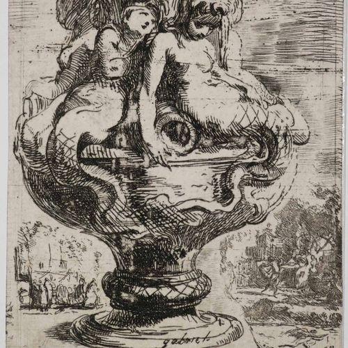 """SAINT AUBIN Gabriel de (Paris 1724 1780) """"Vase"""" (Fragment inférieur droit des Qu…"""