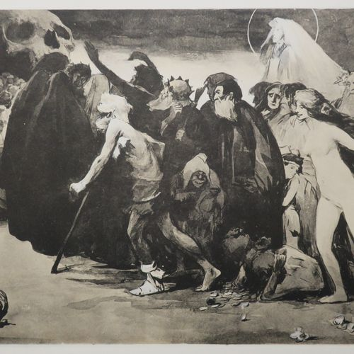 """ALLEGORIE DE LA MORT """"Le chemin de la Mort"""". 1898. Estampe d'après Eugène TRIGOU…"""