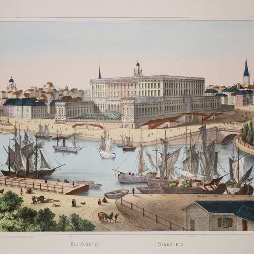 """SUÈDE VUE de """"STOCKHOLM (Stocolmo)"""". Fin XIXème. Belle lithographie imprimée sur…"""