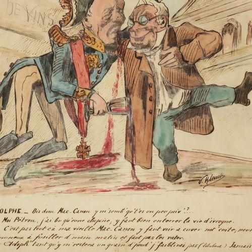 """CARICATURE """"La dernière Ribote"""". XIXème. DESSIN à l'encre, aquarelle & gouache d…"""