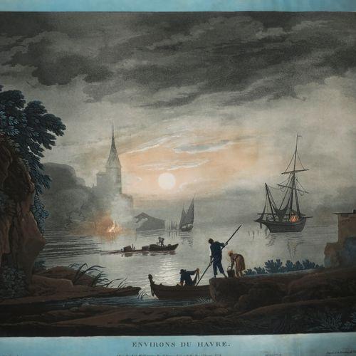 """SEINE MARITIME (76) """"Environs du HAVRE"""". C.1813. Aquatinte gravée par François A…"""