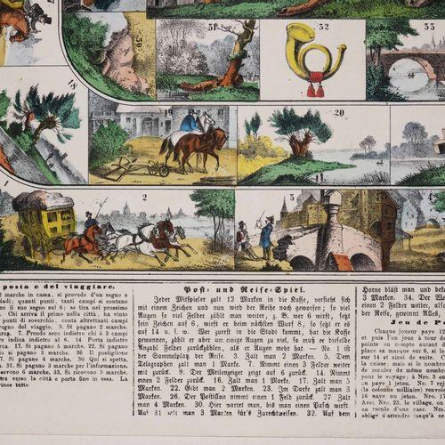 """JEU ANCIEN """"JEU DE POSTE ET DE VOYAGE"""", Josef SCHOLZ. XIXème. Lithographie. Colo…"""