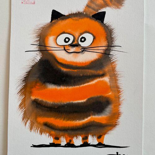 TIBAY Laszlo (Né à Szombathely, Hongrie, en 1962) [Chat orange ]. DESSIN origina…