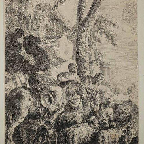 """BOURDON Sébastien (Montpellier 1616 Paris 1671) """"Le retour de Jacob"""". Eau forte …"""