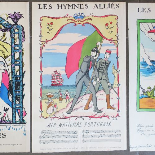 """HYMNE DES ALLIÉS Réunion de 3 pochoirs vers 1917: """"LES ALLIÉS"""", par Robert BONFI…"""