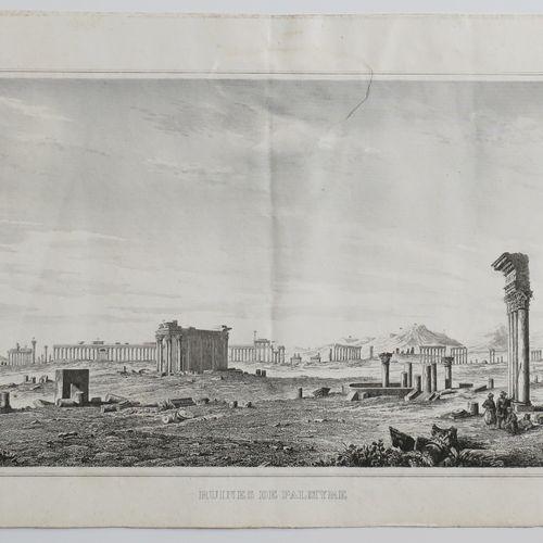 """MOYEN ORIENT SYRIE Vue panoramique des """"Ruines de PALMYRE"""". XIXème. Gravé par Le…"""