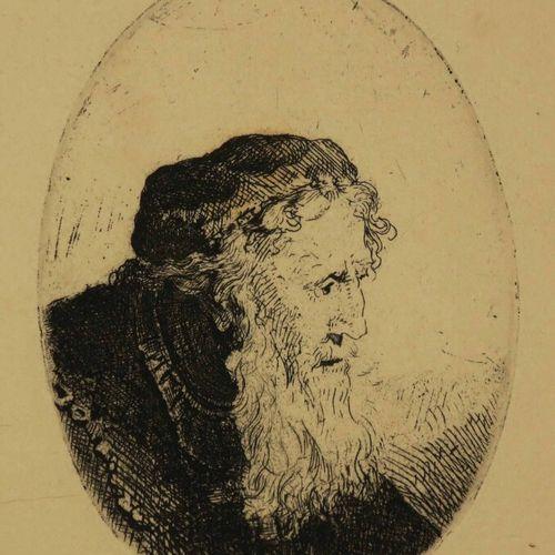 "REMBRANDT H. Van Rijn (Leyde 1606 Amsterdam 1669) ""Vieillard à grande barbe et c…"