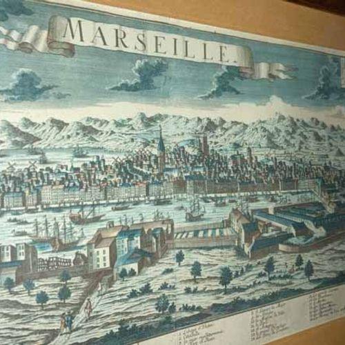 """BOUCHES DU RHÔNE (13) MARSEILLE """"Vue cavalière de Marseille entourée de collines…"""