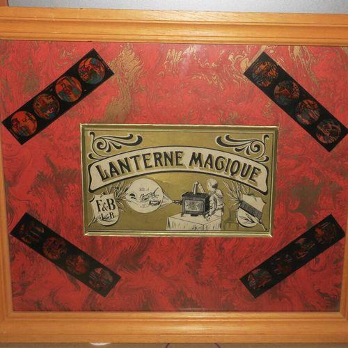 LANTERNE MAGIQUE XIXème. Vignette. Impression en noir et vert. Encadré. 34 x 40 …