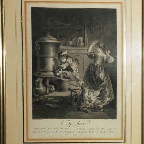 """HENRIQUEZ Benoît Louis (1732 1806) """"L'Espiéglerie"""". Gravure à l'eau forte et au …"""
