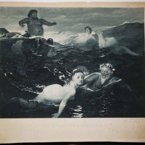 """BÖCKLIN Arnold (Bâle 1827 Italie 1901) (d'après) """"Im Spiel der Wellen"""" (Au jeu d…"""