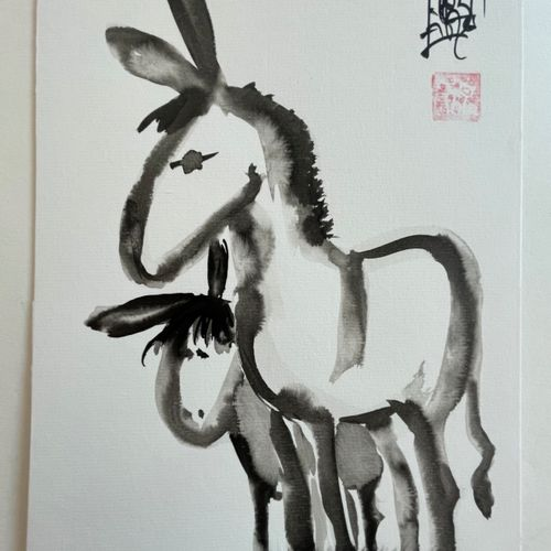TIBAY Laszlo (Né à Szombathely, Hongrie, en 1962) [L'ânesse et son ânon]. DESSIN…