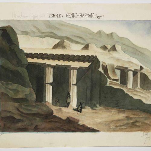 """EGYPTE """"TEMPLE à BENNI HASSAN (Béni Haçan) (Tombeau hypogéen). XIXème. AQUARELLE…"""