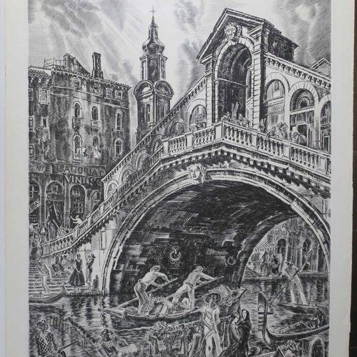 """DECARIS Albert (Sotteville les Rouen 1901 1988) """"Le Pont du Rialto, avec gondole…"""