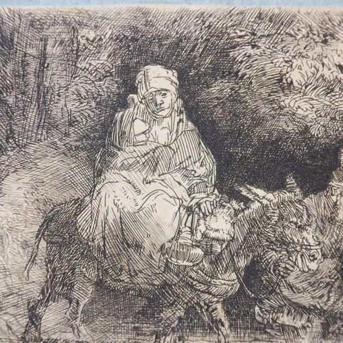 """REMBRANDT H. Van Rijn (1606 1669) """"La Fuite en Egypte, Passage d'un gué"""" (The fl…"""