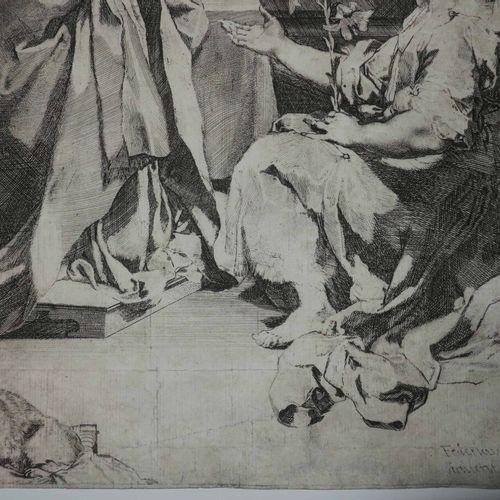 """BAROCCI Federico (Urbin (Italie) 1528 1612) """"L'Annonciation"""" c.1585. Gravure ori…"""