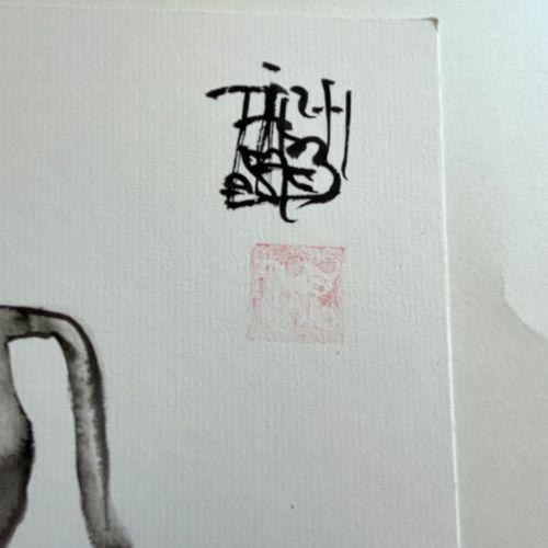 TIBAY Laszlo (Né à Szombathely, Hongrie, en 1962) [Le taureau]. DESSIN original …
