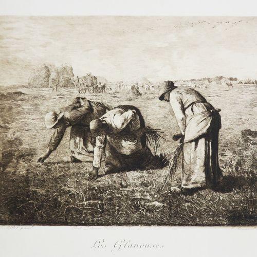 """MILLET Jean François (d'après) (Gruchy 1814 Barbizon 1875) """"Les Glaneuses"""". Eau …"""