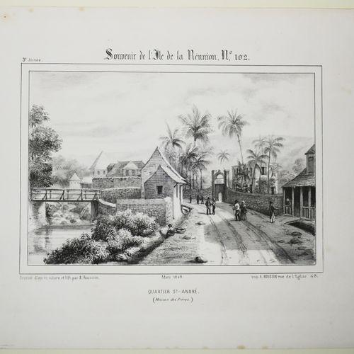 """LA REUNION A. ROUSSIN """"Quartier Saint André (Maison des Frères)"""". Mars 1849. Lit…"""
