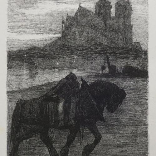 """JOUVE Paul (Marlotte (Seine et Marne) 1880 1973) """"Cheval de halage devant Notre …"""
