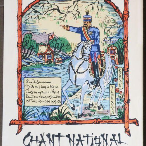 """JAPON / CHINE Réunion de 2 pochoirs vers 1917: """"CHANT NATIONAL JAPONAIS"""" (HYMNE …"""