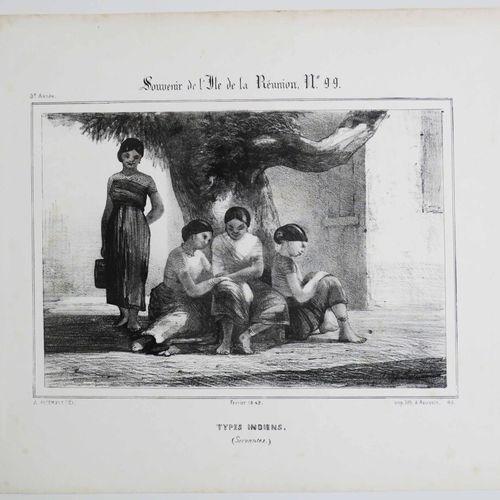 """LA REUNION A. ROUSSIN """"Types Indiens (Servantes)"""". Février 1849. Lithographié pa…"""