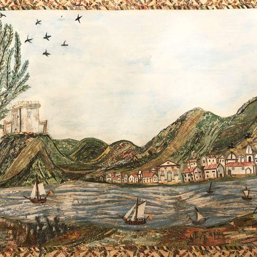 TECHNIQUE MIXTE [PAYSAGE, Village en bord de rivière]. XIXème. Gravure, collage …