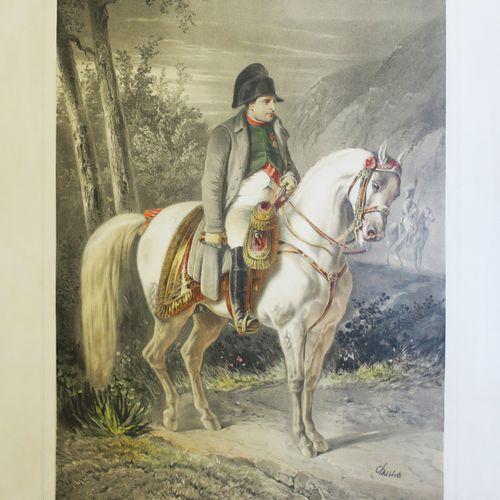 "NAPOLÉON À CHEVAL ""NAPOLÉON, Campagne de France"". C.1844. Grande lithographie pa…"